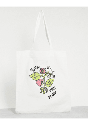 ASOS DESIGN tote bag with grow with the flow print-White