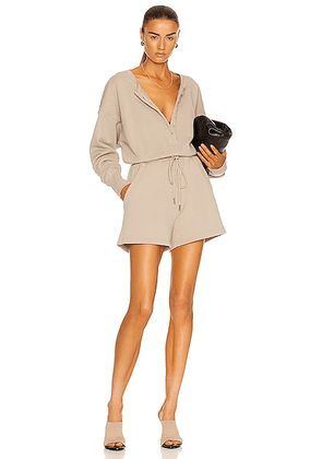 Citizens of Humanity Loulou Fleece Romper in Feather - Tan. Size L (also in M, S, XL).