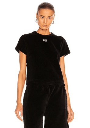 T by Alexander Wang Short Sleeve Baby Tee in Black - Black. Size L (also in M, S).