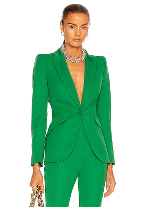 Alexander McQueen One Button Jacket in Chrome Green - Green. Size 42 (also in ).