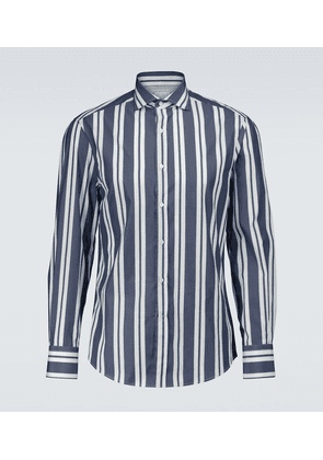 Striped cotton long-sleeved shirt