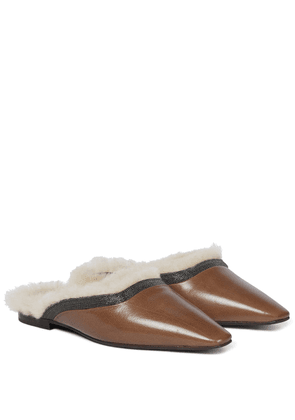 Leather and shearling slippers