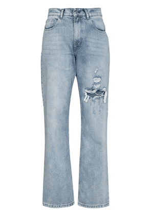 Danielle Guizio ripped detail relaxed jeans - Blue