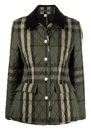 Burberry diamond-quilted check jacket - Green