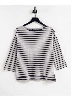 French Connection striped jersey top in grey & blue-Multi