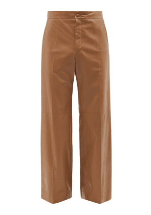 Gucci - Leather Wide-leg Suit Trousers - Mens - Brown