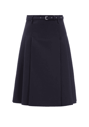 REDValentino - Mid-rise Buckled Pleated Wool Midi Skirt - Womens - Navy