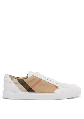 Burberry - Salmond House-check Leather Trainers - Womens - White Multi