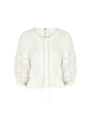 Free People Daisy Chains Floral-embroidered Cotton Blouse
