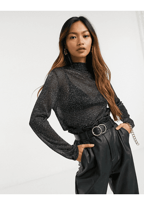 Fashion Union high neck top in sheer knit-Black