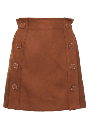 Emilio Pucci Button-detailed Linen-twill Mini Skirt Woman Brown Size 42
