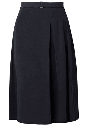 Marni Belted Pleated Crepe Skirt Woman Blue Size 42