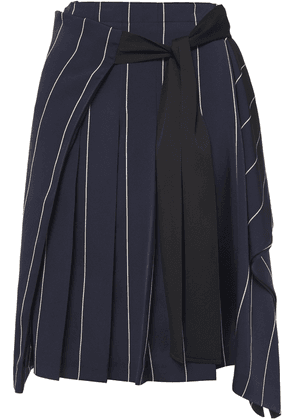 Mcq Alexander Mcqueen Tie-front Draped Pinstriped Satin-twill Skirt Woman Navy Size 36