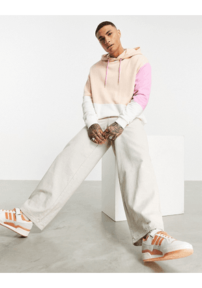 ASOS DESIGN co-ord oversized hoodie in pink and beige colour block
