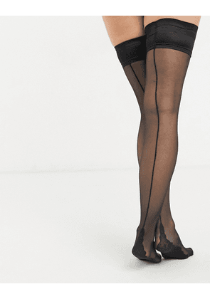 Bluebella back seamed hold up stockings in black