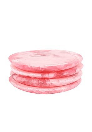 DINOSAUR DESIGNS Wildflower Boulder Set of 4 Coasters in Pink Guava - Pink. Size all.