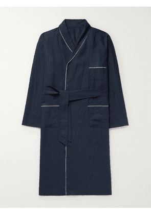 Anderson & Sheppard - Piped Linen Robe - Men - Blue - M
