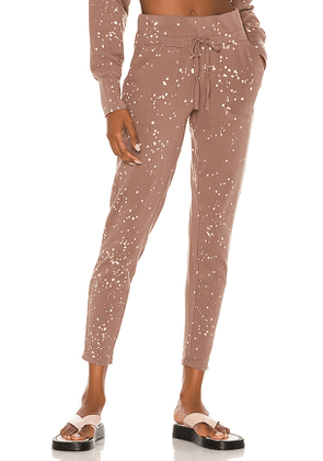 Bobi Beach Splatter Terry Pant in Taupe. Size L, M, S.