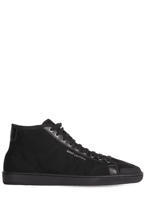 Logo Cotton Canvas Mid Top Sneakers