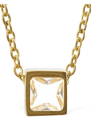 Cube Charm Necklace W/ Crystal