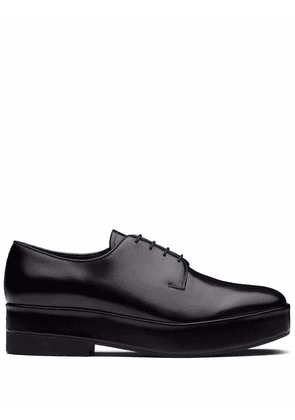 Prada lace-up leather derby shoes - Black