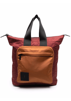 Ally Capellino logo-patch colour-block backpack - Red