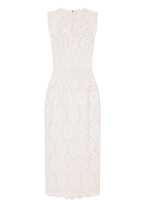 Dolce & Gabbana floral-lace mid-length dress - White