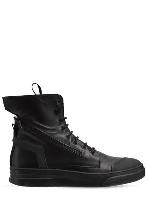 Leather High-top Sneakers W/ Zip