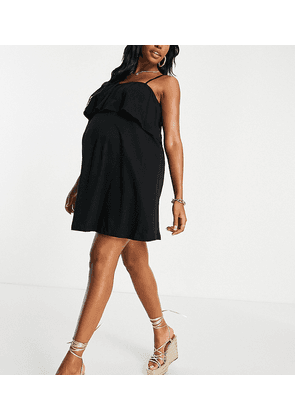ASOS DESIGN Maternity square neck sundress with overlayer frill in black