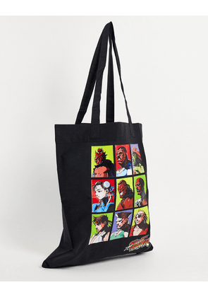 ASOS DESIGN tote bag in black organic cotton with streetfighter print
