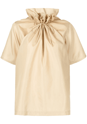 3.1 Phillip Lim SS RUCHED NECK BOXING TAFFETA TOP - Yellow