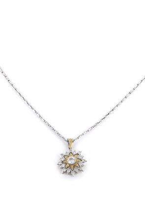 Buccellati 2016 pre-owned 18kt gold floral diamond pendant necklace - Silver