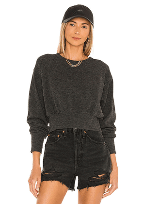 Bobi Cozy Heathered Knit Top in Charcoal. Size L, M, S.