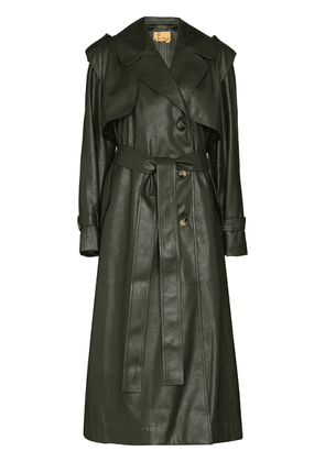 ANOUKI belted long trench coat - Green
