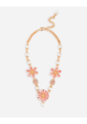 Dolce & Gabbana Bijoux - Necklace with resin pearls and flower pendant Gold female OneSize