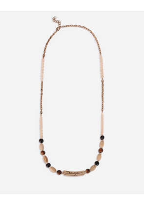 Dolce & Gabbana Bijoux - Wooden bead necklace with DG logo plate MULTICOLOR male OneSize