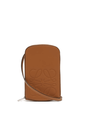 Loewe - Anagram-logo Leather Neck Pouch - Mens - Tan