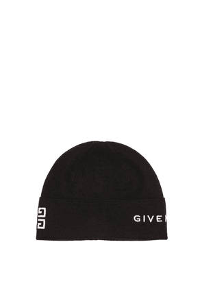 Givenchy - Logo-embroidered Ribbed-wool Beanie Hat - Womens - Black