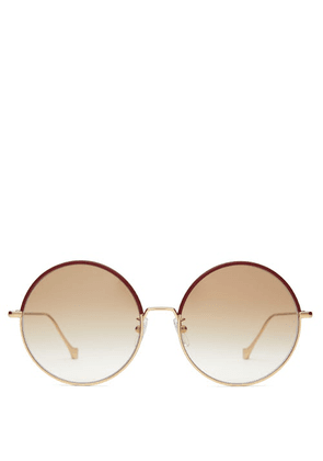 Loewe - Leather-trimmed Round Metal Sunglasses - Womens - Gold