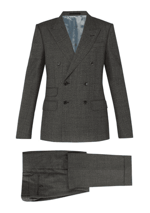 Gucci - Double-breasted Wool Suit - Mens - Grey