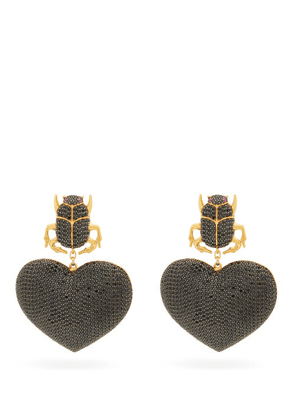 Begum Khan - Scarab My Love 24kt Gold-plated Clip Earrings - Womens - Black Gold