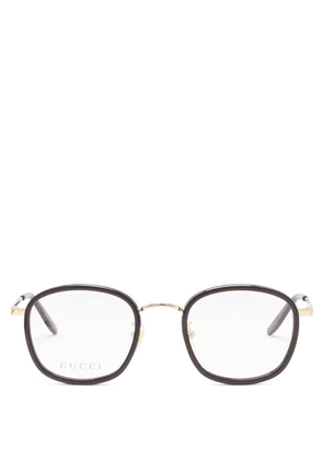 Gucci - Square Metal And Acetate Glasses - Mens - Clear