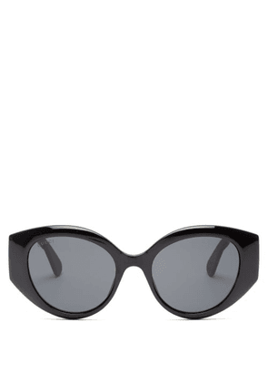 Gucci - GG-logo Quilted Cat-eye Acetate Sunglasses - Womens - Black Grey