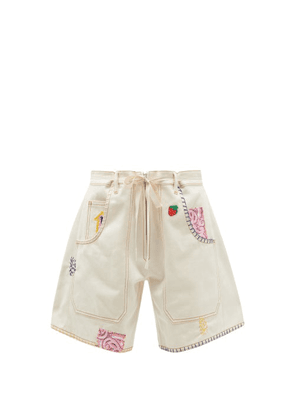 La Fetiche - Jodie High-rise Embroidered Upcycled-denim Shorts - Womens - Cream