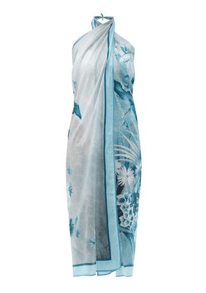 F.r.s - For Restless Sleepers - Jungle-print Cotton-muslin Sarong - Womens - Blue Print