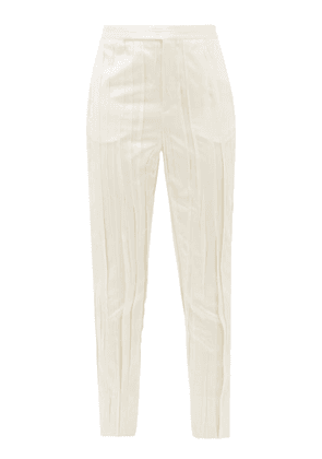 Saint Laurent - High-rise Pleated Satin Trousers - Womens - Ivory