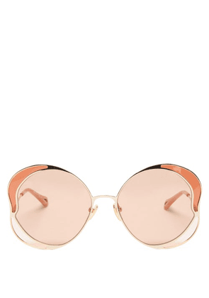 Chloé - Butterfly Metal Sunglasses - Womens - Gold
