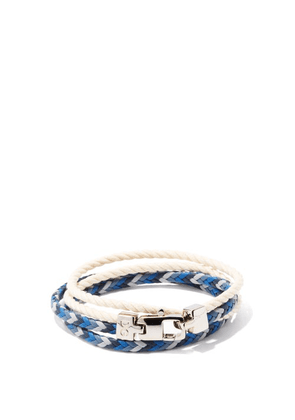 Dolce & Gabbana - Braided Leather And Cotton Wrap Bracelet - Mens - Multi