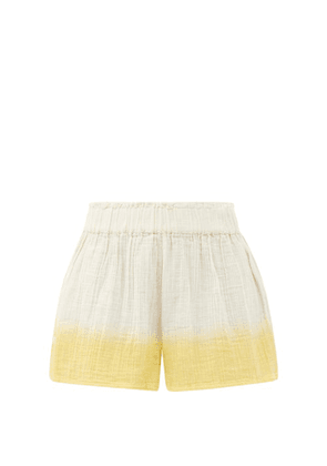 Anaak - Aria Buttoned-side Dip-dyed Cotton Shorts - Womens - Yellow Multi