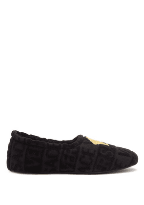 Versace - Medusa-embroidered Terry-towelling Slippers - Mens - Black